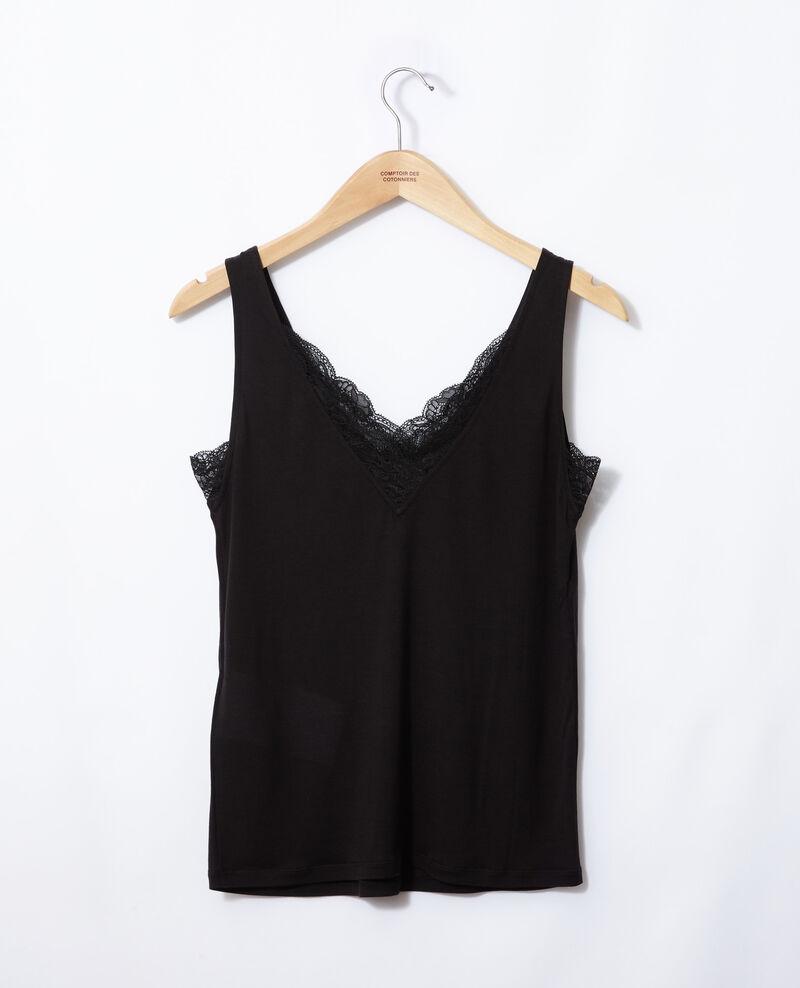 Vest top with lace Noir Gaia
