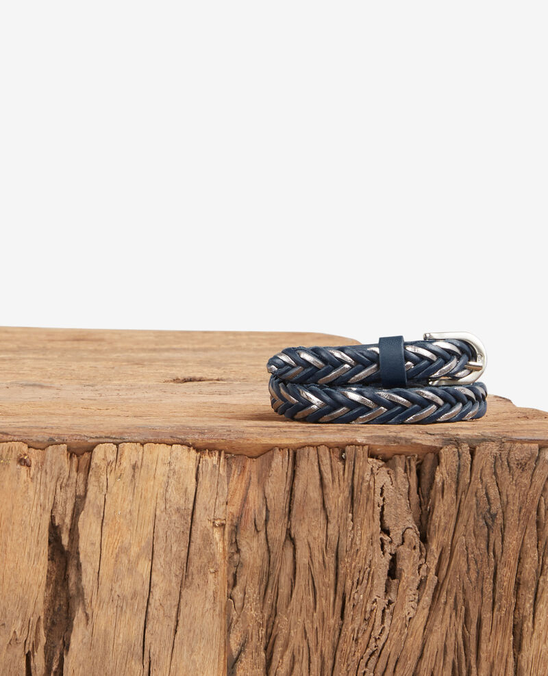 Braided leather belt Deep sea/silver Dardara