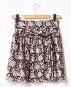 Printed silk skirt Darjeeling black Fiona