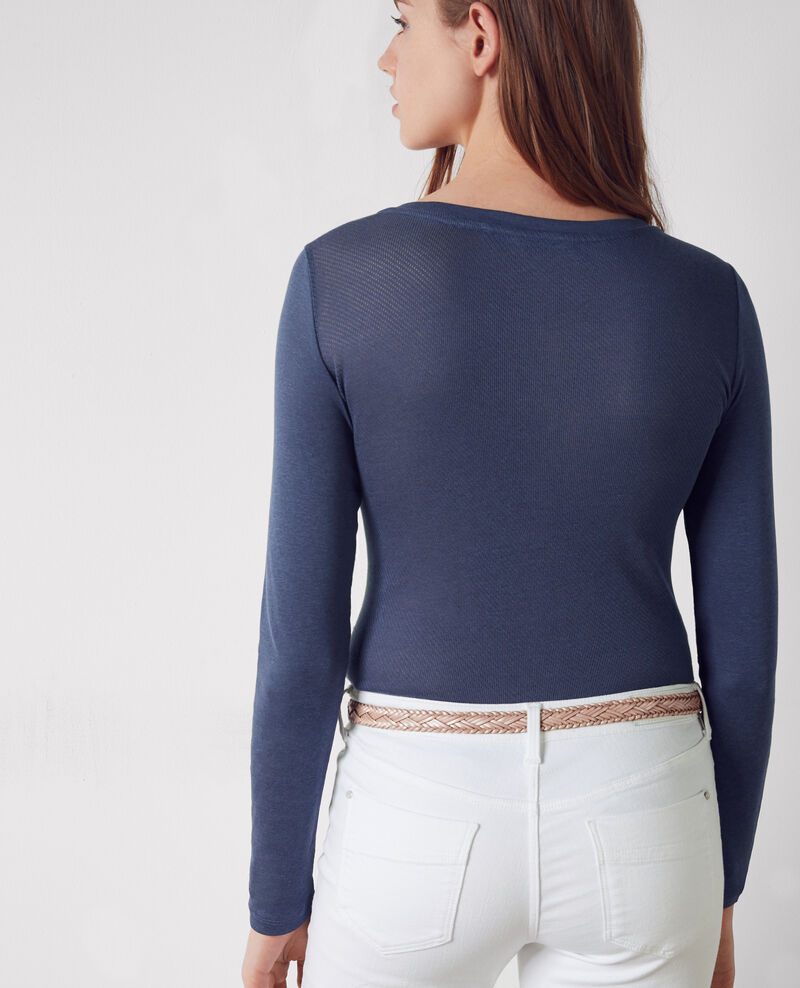 Shirt with openwork details Ink blue Cambridge