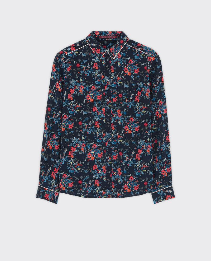 Silk print shirt Bouquet leaves dark navy Chifoumi