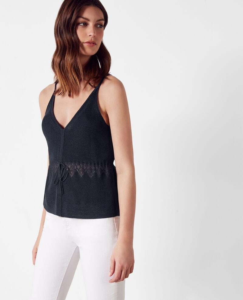 Fine-ribbed linen and cotton tank top Midnight Crackers