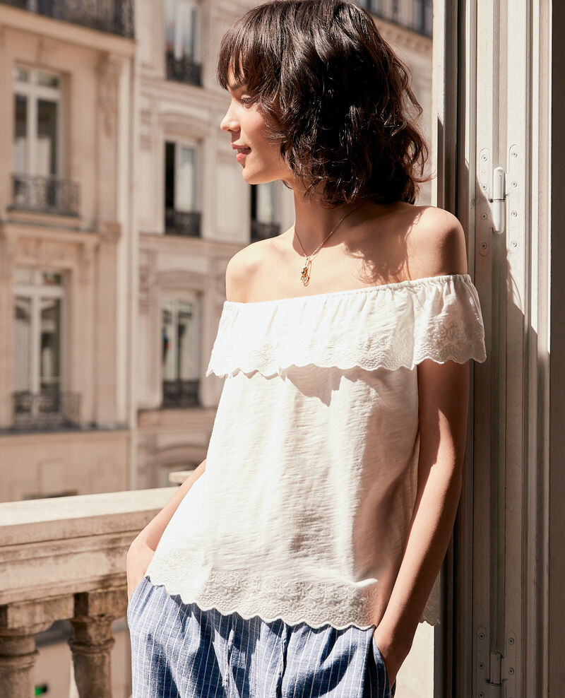 Top with elasticated and embroidered frill OFF WHITE