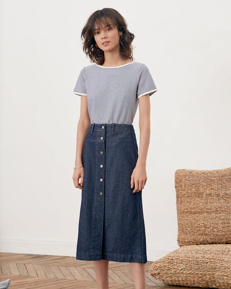 Striped T-shirt Kaolin/indigo Franz