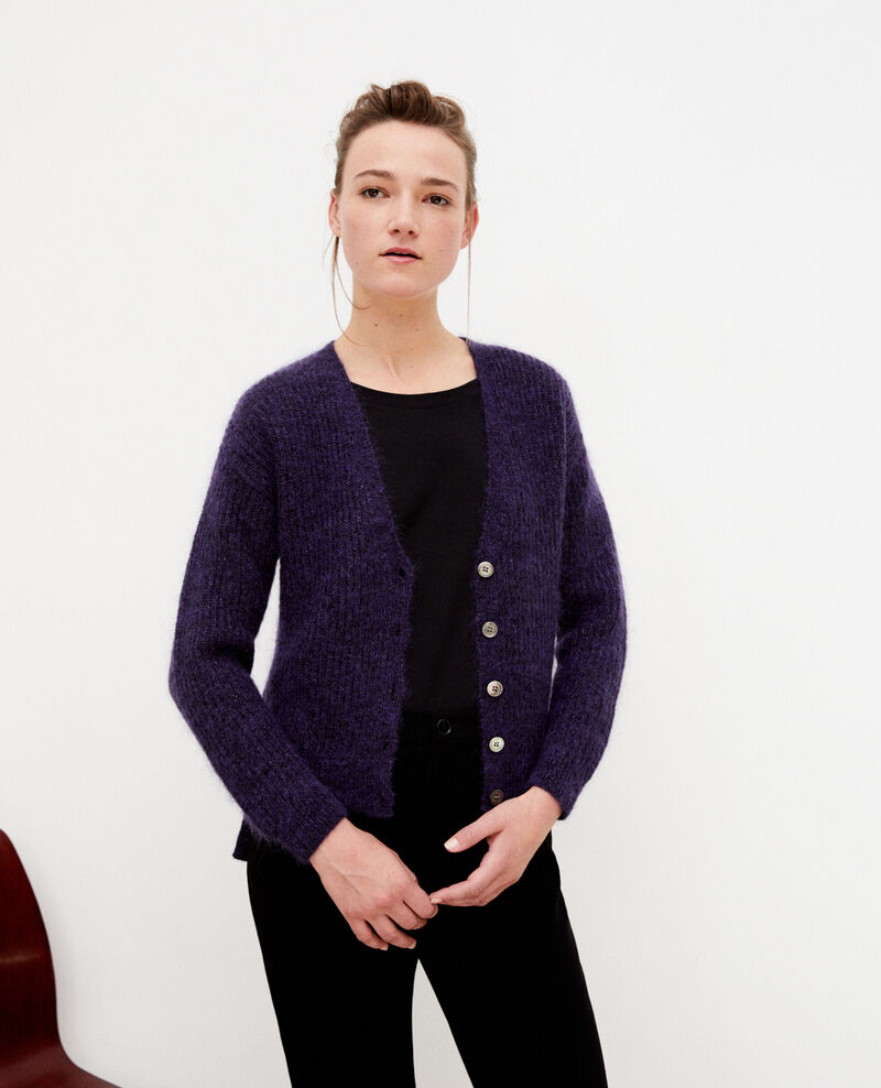 Mohair blend cardigan PURPLE/NOIR/LUREX