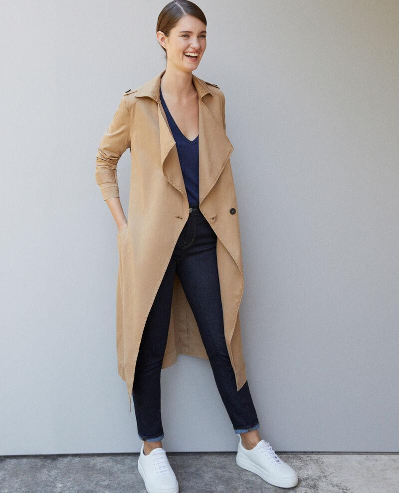 Long floaty trench coat CHAMOIS ROSE