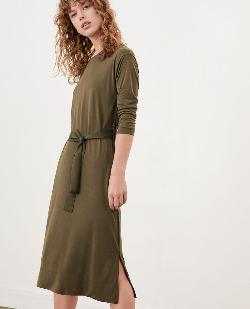 Loose dress with belt DARK KAKI
