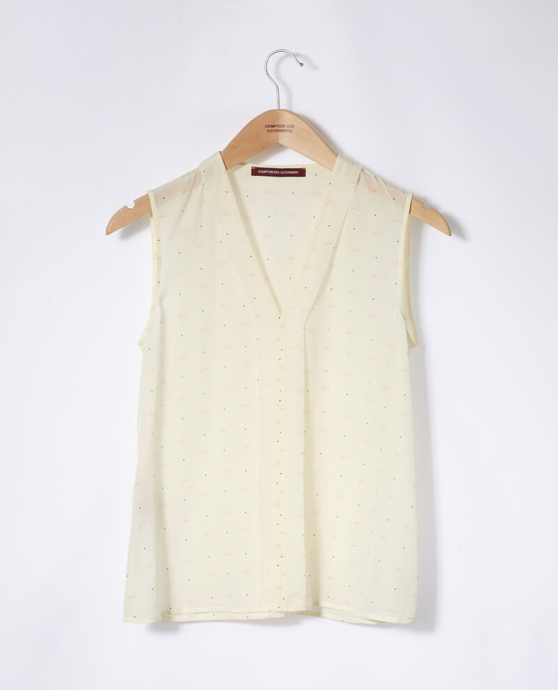 Sleeveless top Lotus fan winter white Ganette