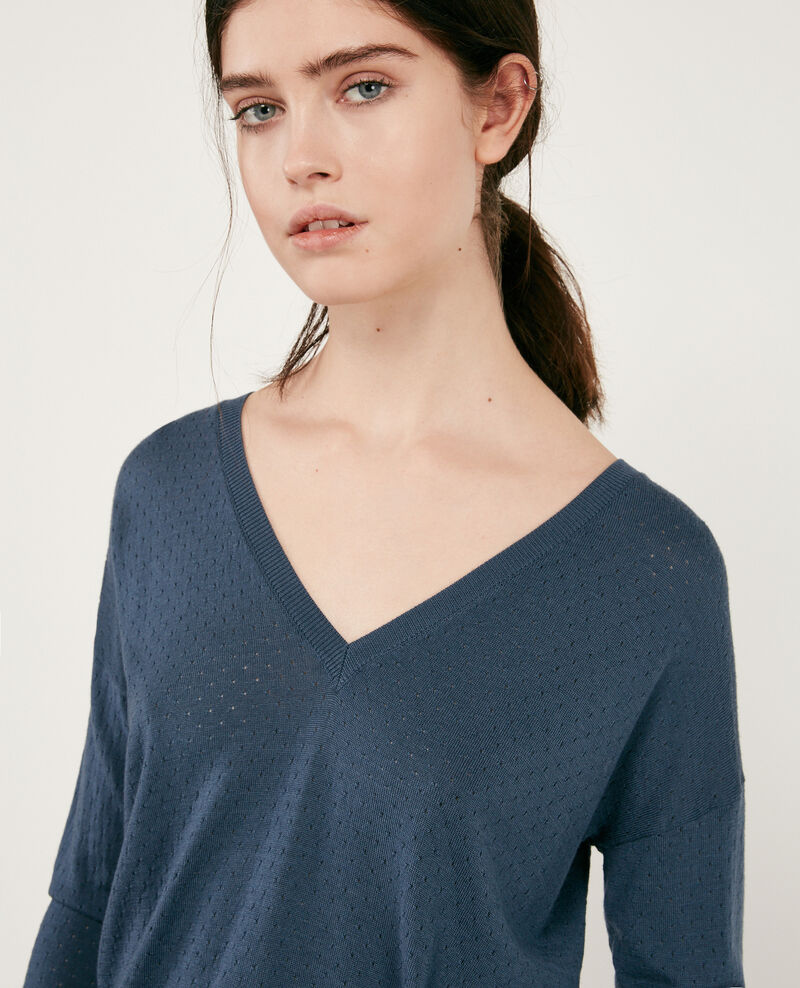 Detail knitted merino wool jumper Denim Darago