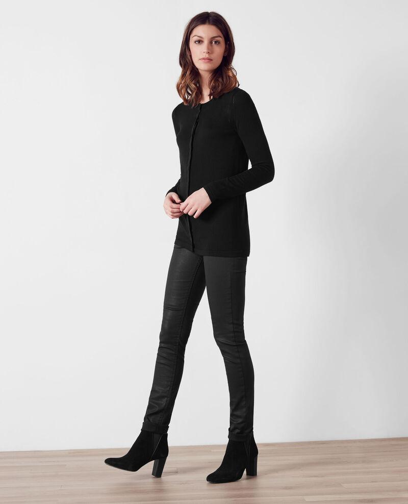 Fine merino wool cardigan Noir Cocorico