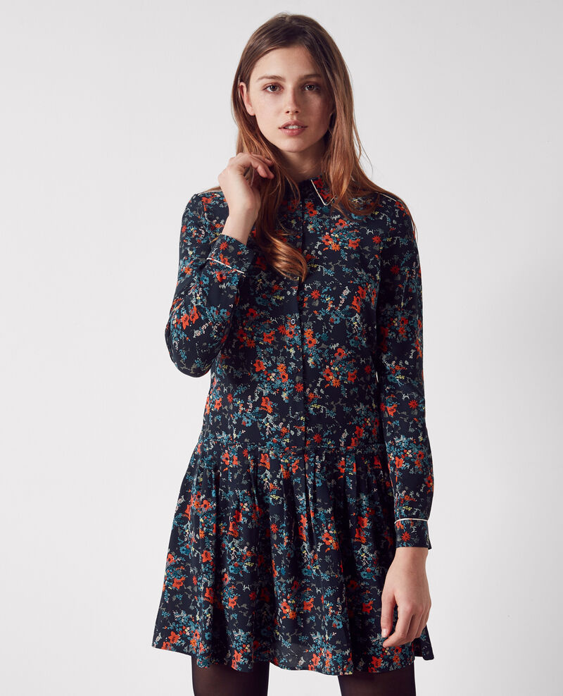 Silk print shirt dress Bouquet leaves dark navy Constellation
