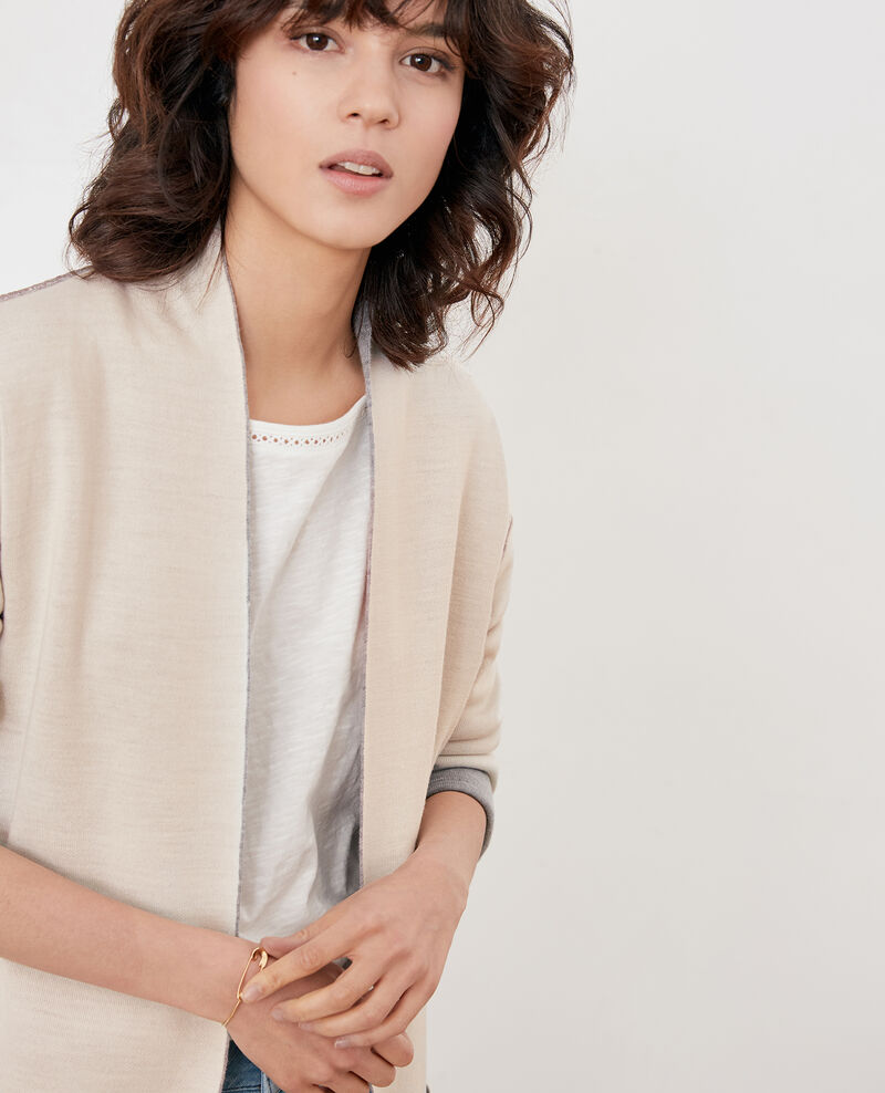Reversible wool cardigan  Cement/off white Finger