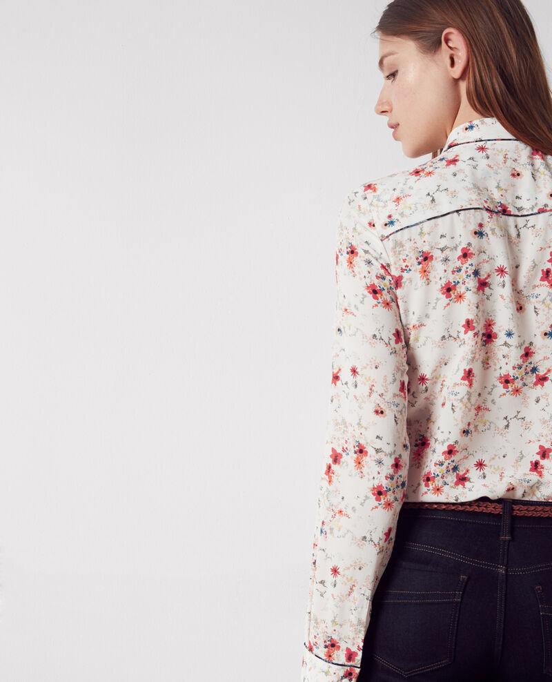 Silk print shirt Bouquet leaves seashell Chifoumi