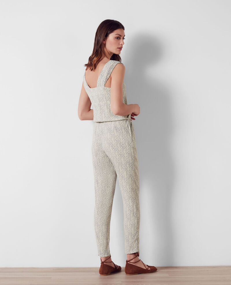 Print jumpsuit with frill details Summer lines ink blue Camba