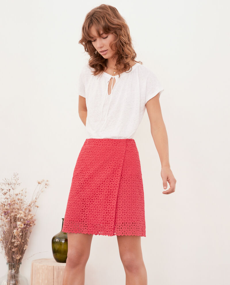 Broderie anglaise wrap skirt ULTRA PINK