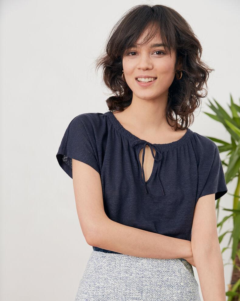 Linen T-shirt NAVY