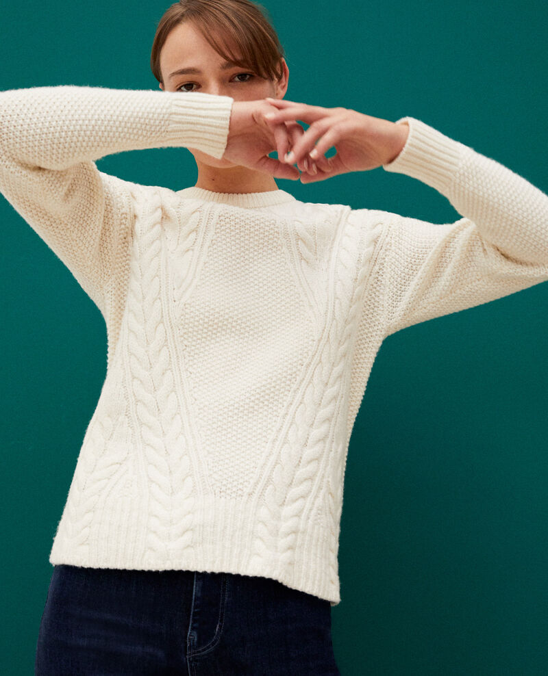 Jumper with cable stitch details OFF WHITE