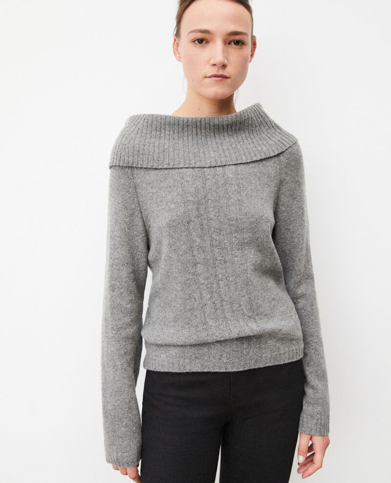 Jumper with cable stitch details MEDIUM HEATHER GREY