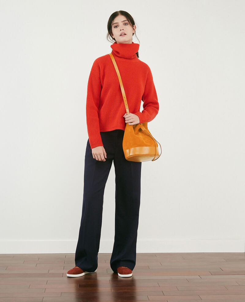 100% wool roll neck jumper Orange red Dacheville