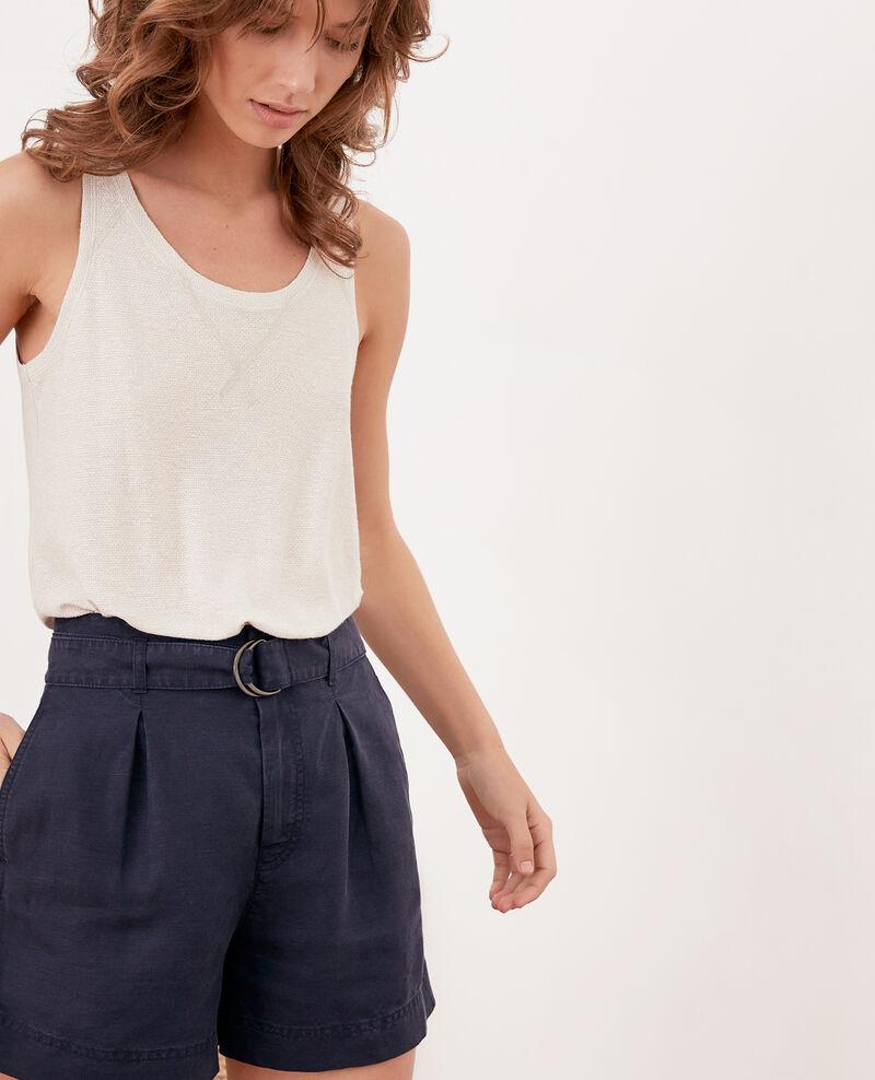 Linen blend shorts NAVY