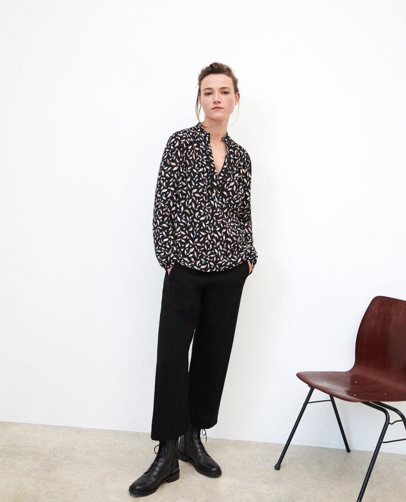 Henley blouse Noir Gaela