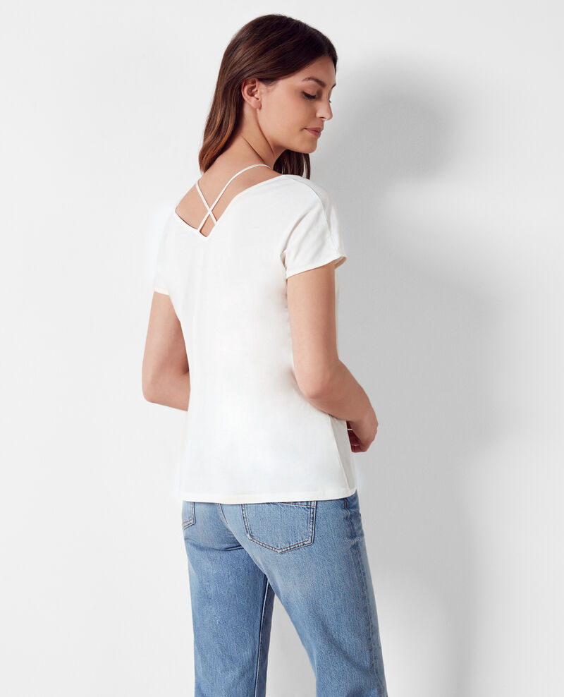 Dual-fabric cotton and silk t-shirt Off white Croisade