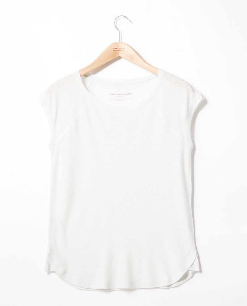 Iridescent T-shirt with linen Off white Falexia