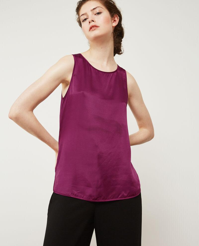 Silk panelled t-shirt DARK PEONY