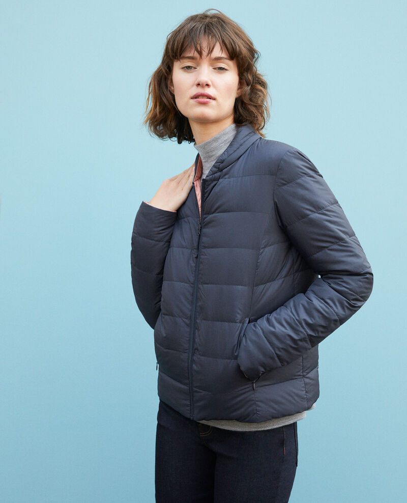Reversible padded jacket with packable hood NAVY/ROSE CLAY