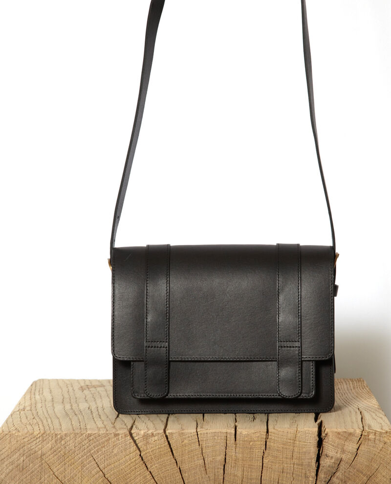 Smooth leather bag, small model NOIR
