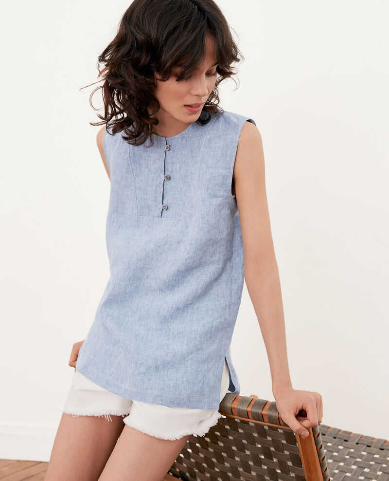 Sleeveless linen top AZUR