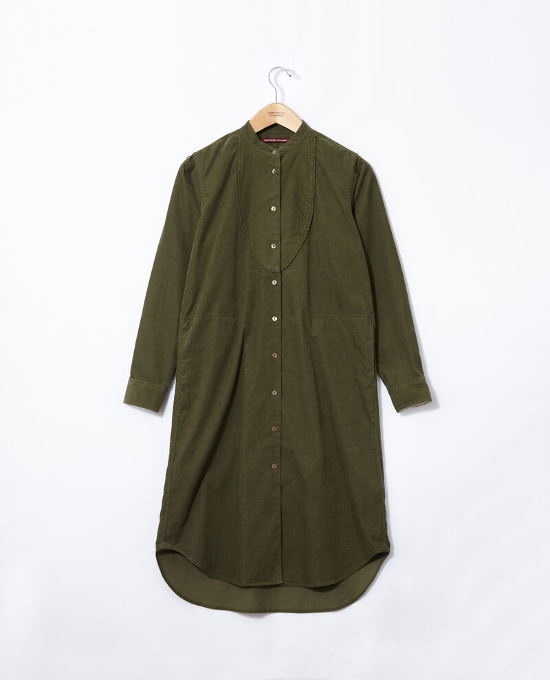 Velvet dress with mandarin collar Olive night Goiselle