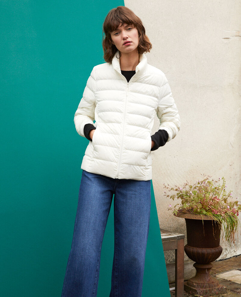 Ultra-light padded jacket with stand-up collar OFF WHITE