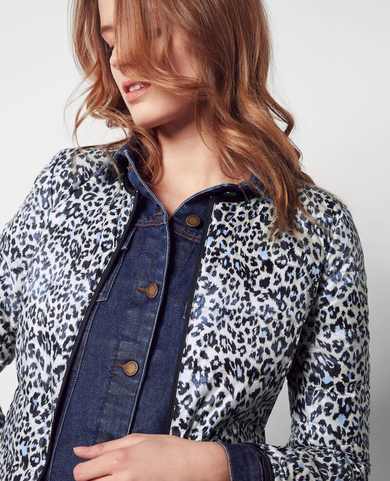 Printed pocketable reversible puffer jacket Wild panthere/dark navy Challenge