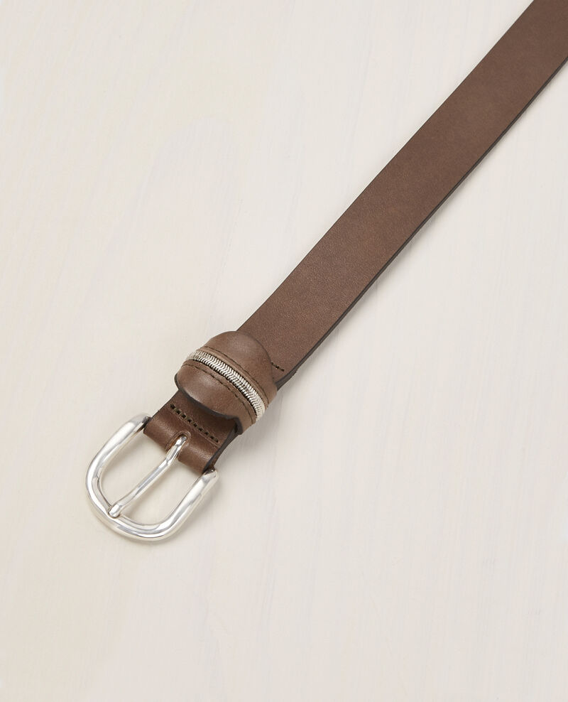 Leather belt Kaki Bambou