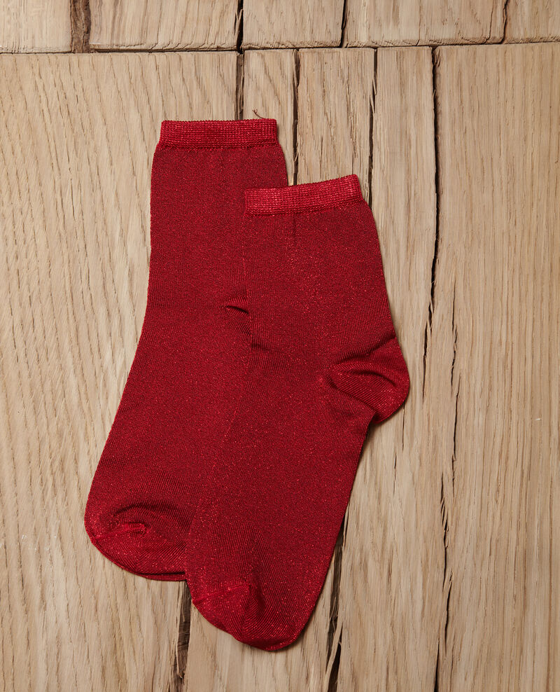 Lurex blend socks POMPEIAN RED