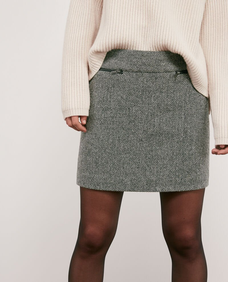 Wool blend tweed skirt Medium heather grey Doucoup