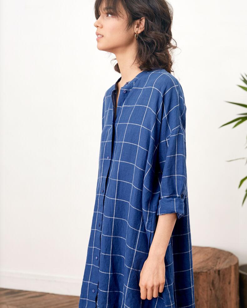 Loose linen dress  Indigo Footing