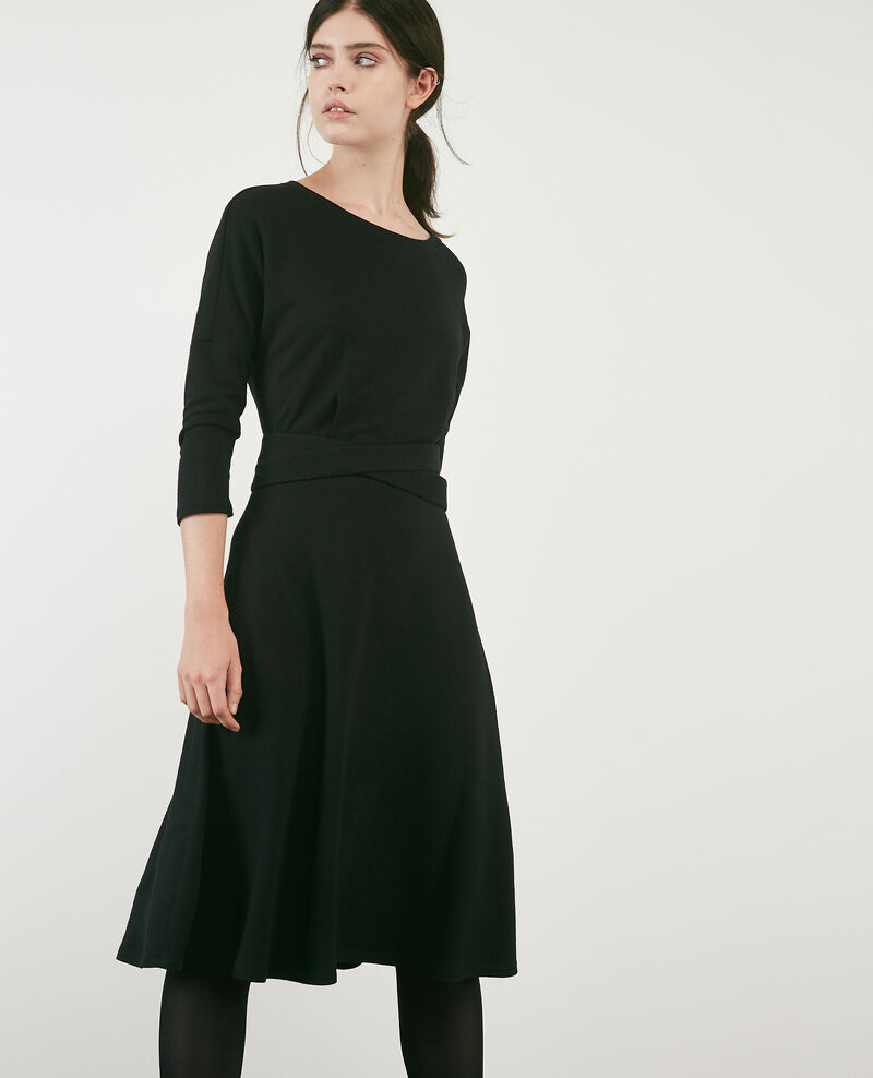 Wool blend sweater fabric dress Noir Devoiler