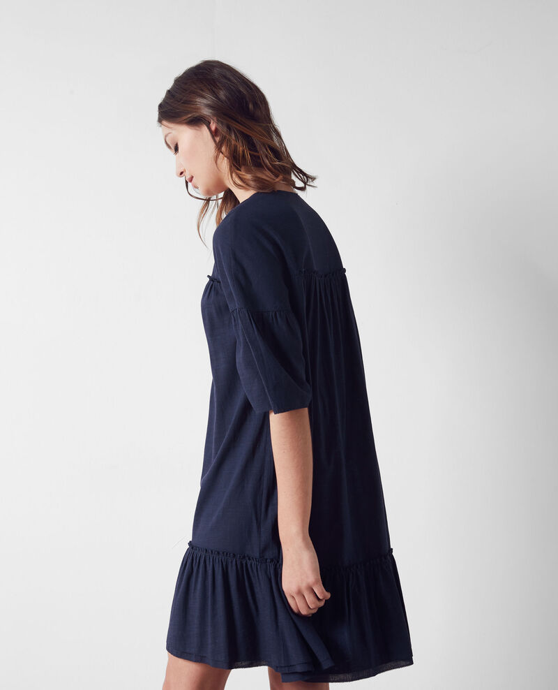 Loose dress with ruffles Dark slate blue Cindiana