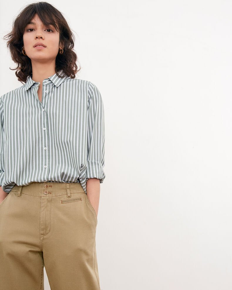 Striped oversize shirt SAGE STRIPES