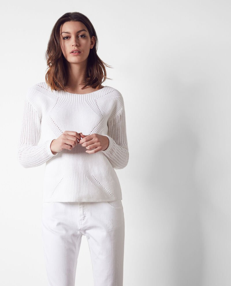 Jumper with knit detail at the front Off white Christelle