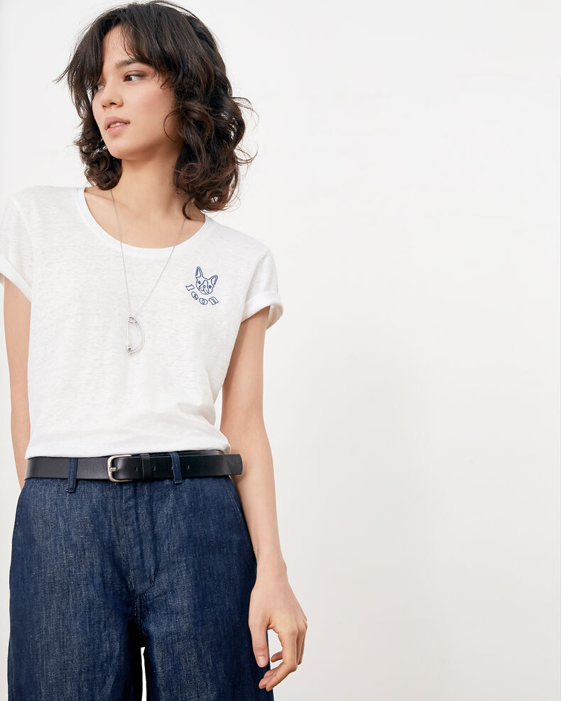Embroidered linen T-shirt BLANC/INDIGO