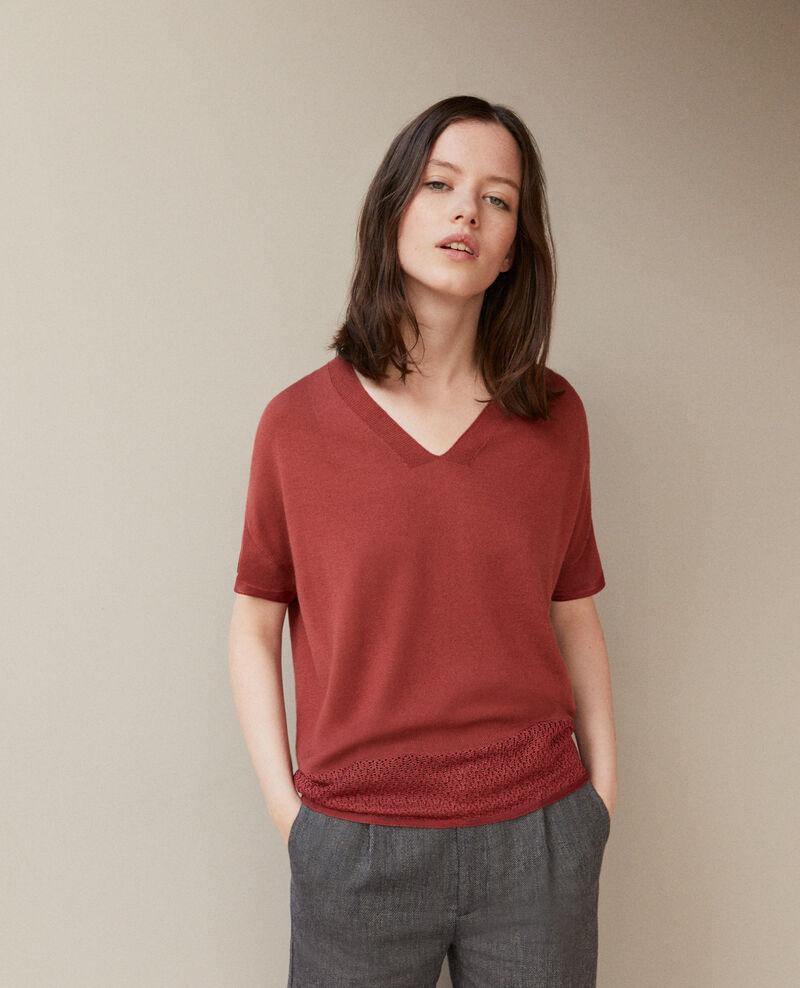 Zero-stitching short-sleeved knit Cowhide Gemilio