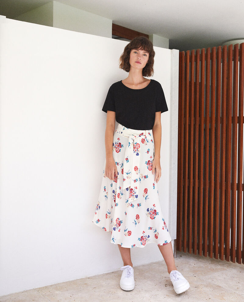 Belted skirt FLEURS OFF WHITE