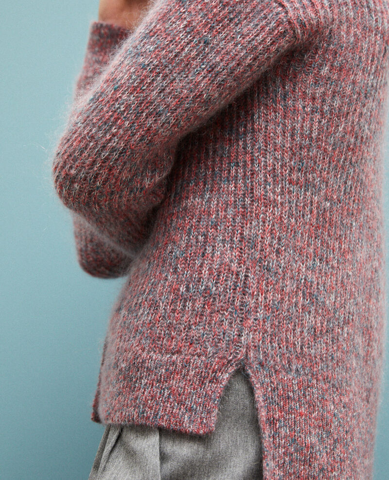 Flecked mohair cardigan Pompeian red/ultra green/off white Guenael