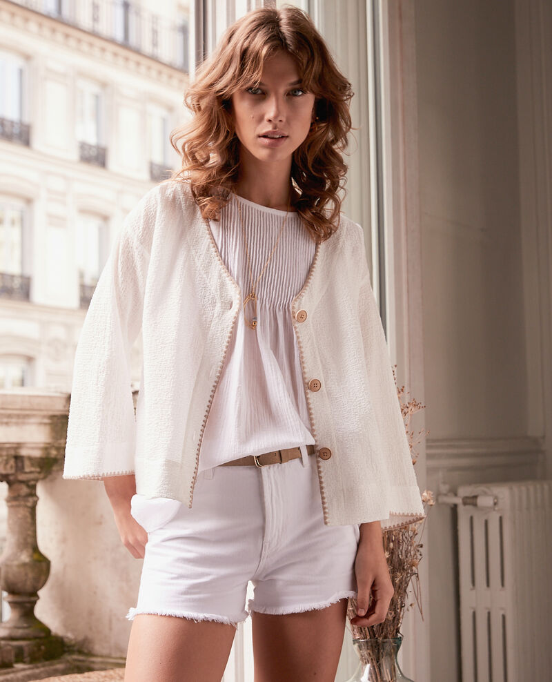 Crumpled effect blouse Blanc Fauline