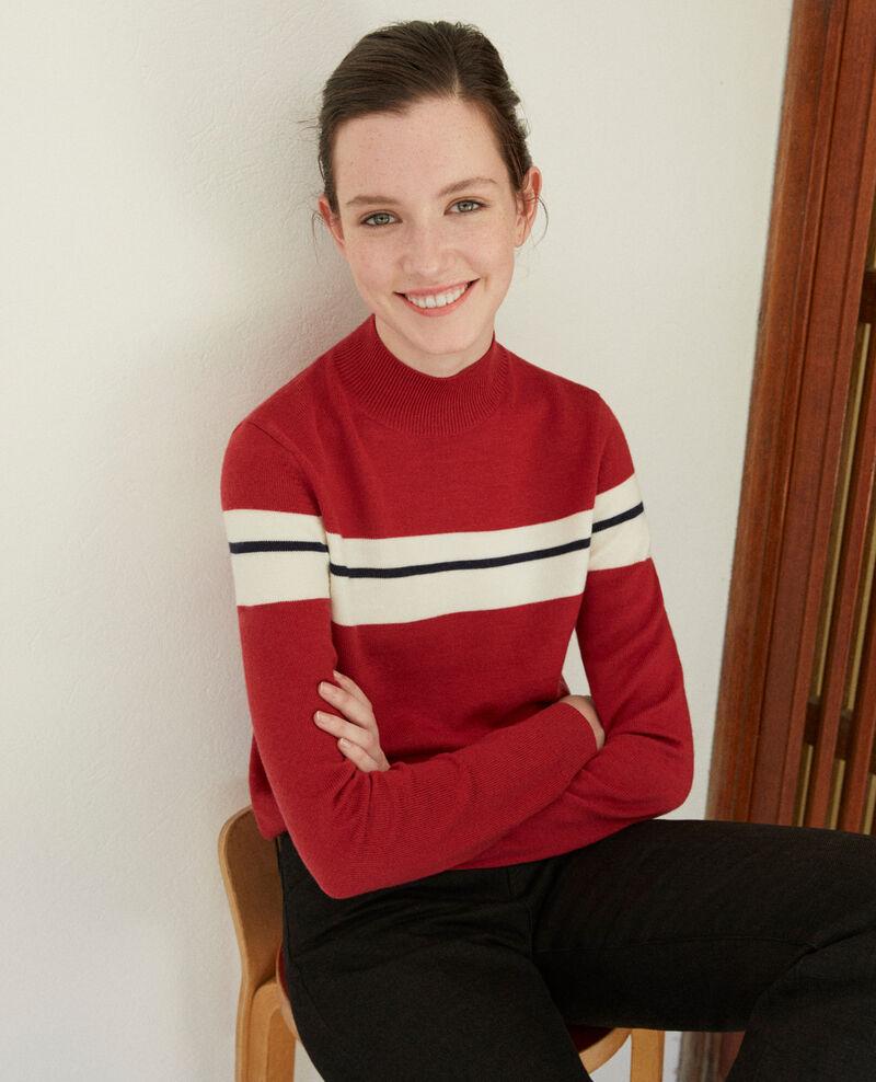 Merino wool jumper RIO RED/OFF WHITE/PEACOAT