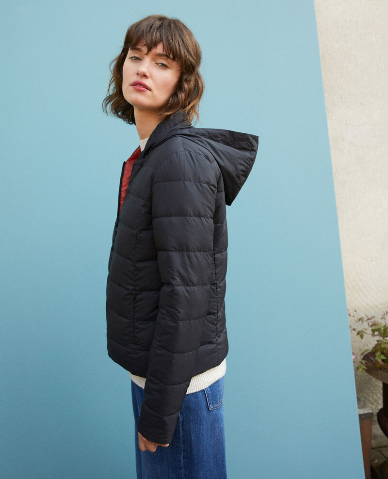 Reversible padded jacket with packable hood Black/rust Dalife