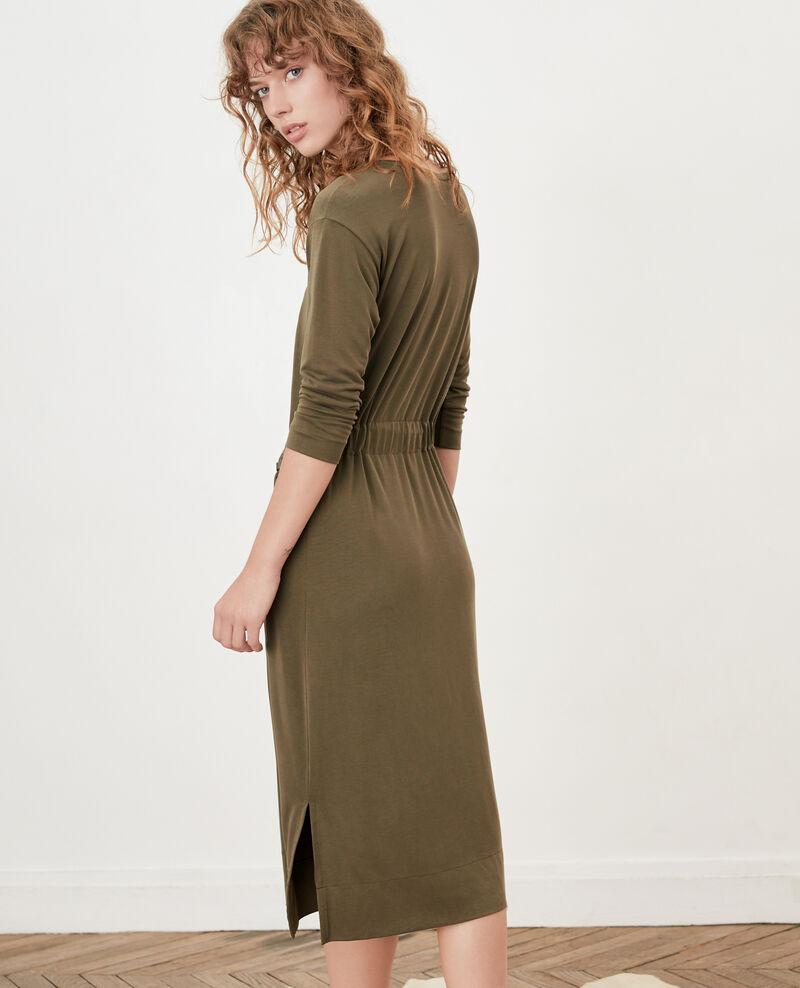 Loose dress with belt Dark kaki Fea
